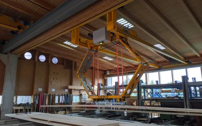 New development: Destacking line D-T-500.02 for the company Flück Holzbau AG